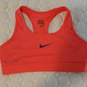 Nike pro orange sports bra